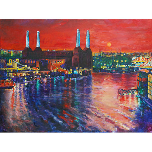 Red Sunset Over Battersea Power Station