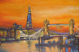 Towerbridge with Olympic Rings at dusk