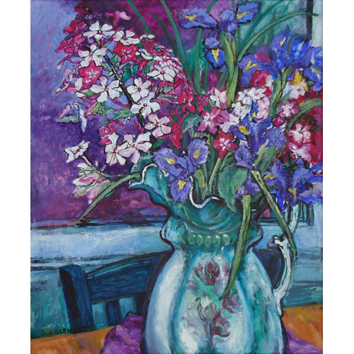 Irises with Victorian Jug