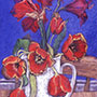 Jug with Tulips, Dark Blue